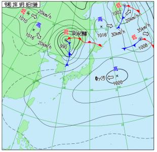 9月8日(火)15時の実況天気図