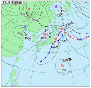 9月26日(土)15時の実況天気図