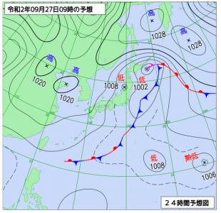 9月27日(日)9時の予想天気図