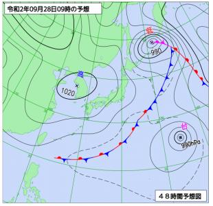 9月28日(月)9時の予想天気図