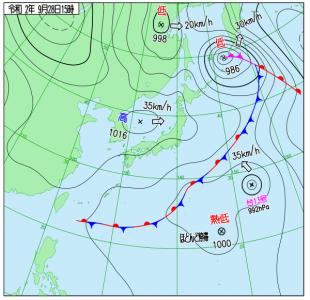 9月28日(月)15時の実況天気図