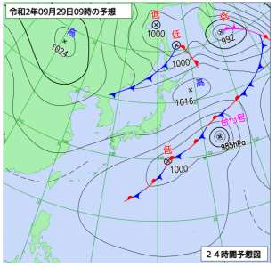 9月29日(火)9時の予想天気図