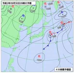 9月30日(水)9時の予想天気図