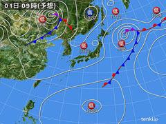 10月1日(木)9時の予想天気図