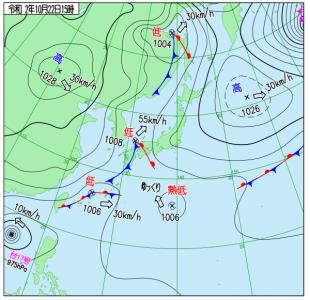 10月22日(木)15時の実況天気図