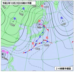 10月23日(金)9時の予想天気図