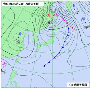 10月24日(土)9時の予想天気図