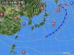 10月25日(日(9時の予想天気図