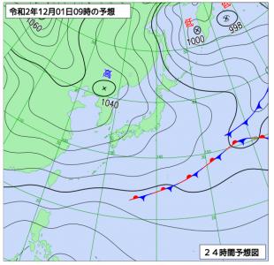 12月1日(火)9時の予想天気図