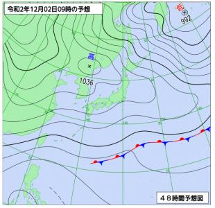 12月2日(水)9時の予想天気図