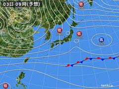 12月3日(木)9時の予想天気図