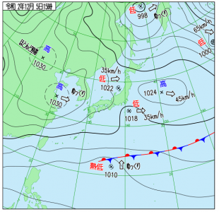 12月5日(土)15時の実況天気図