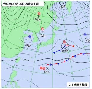 12月6日(日)9時の予想天気図