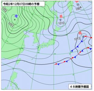 12月7日(月)9時の予想天気図