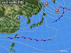 12月8日(火)9時の予想天気図