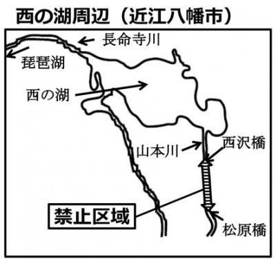 西の湖周辺の禁漁区域