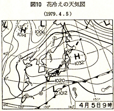 近江気象歳時記 P27 図10 花冷えの天気図