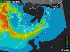 PM2.5分布予測(4月8日18時)