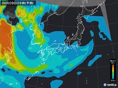 PM2.5分布予測(4月9日9時)