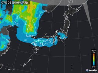PM2.5分布予測(7月3日9時)