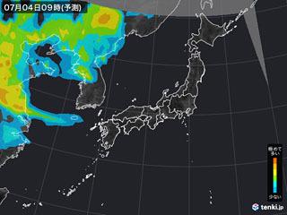 PM2.5分布予測(7月4日9時)