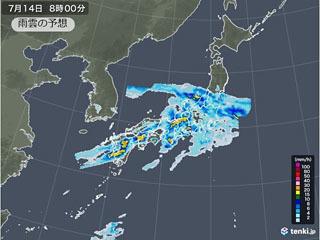 7月14日(火)8時の雨雲予想