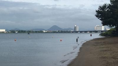 また増水!! 真野浜から眺めた琵琶湖の真野川(YouTubeムービー)