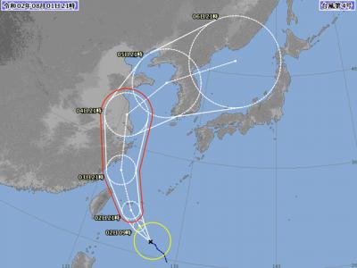 台風4号進路予想(8月1日21時)
