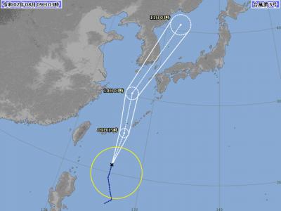 台風5号進路図(8月9日3時)