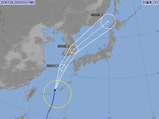 台風5号進路図(8月9日18時)