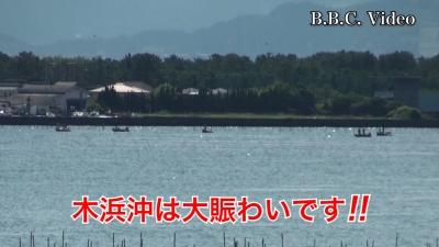 木浜沖の船団は大賑わい!! いい天気になった8月最後の週末の琵琶湖(YouTubeムービー)