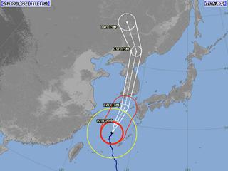 台風9号進路図(9月1日18時)