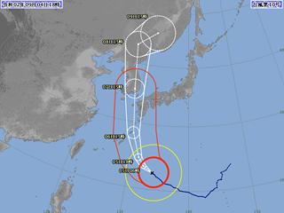台風10号進路図(9月4日18時)