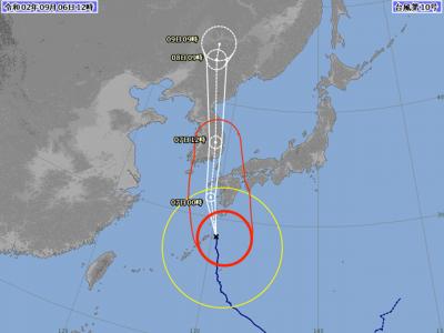 台風10号進路図(9月6日12時)