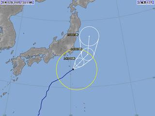 台風12号進路図(9月23日18時)