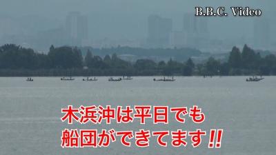 台風12号迷走中!! 琵琶湖は穏やか 木浜沖の船団は健在です(YouTubeムービー)