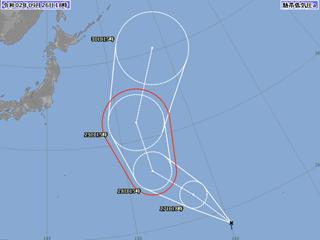 熱帯低気圧進路図(9月26日18時)