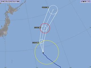 台風13号進路図(9月28日18時)