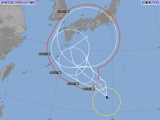 台風14号進路図(10月5日18時)