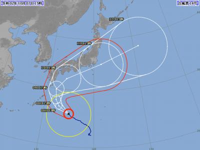 台風14号進路図(10月7日15時)