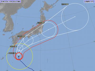 台風14号進路図(10月8日9時)