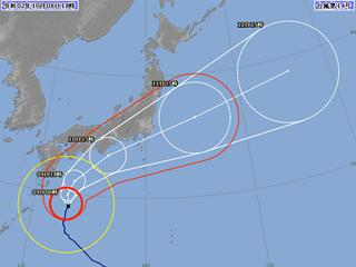 台風14号進路図(10月8日18時)