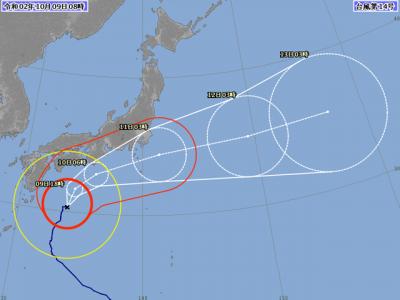 台風14号進路図(10月9日9時)