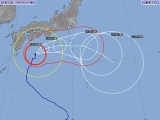 台風14号進路図(10月9日18時)
