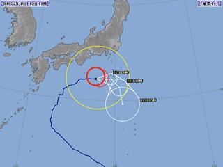 台風14号進路図(10月10日18時)