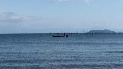 真野浜から眺めた北湖!! 琵琶湖は今日の秋晴れのいい天気です(YouTubeムービー)