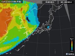 PM2.5分布予測(10月23日9時)