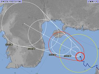 台風17号進路図(10月22日18時)