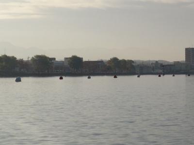 琵琶湖漕艇場に設置されたブイ