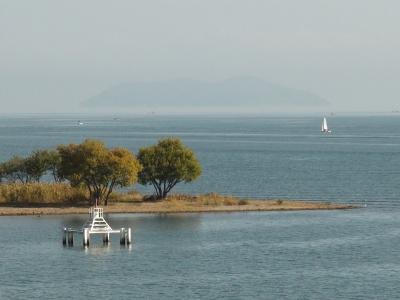 今日は北湖も穏やかになって沖のディープエリアで釣りをするボートが何隻も見えてます(11月15日10時頃)
